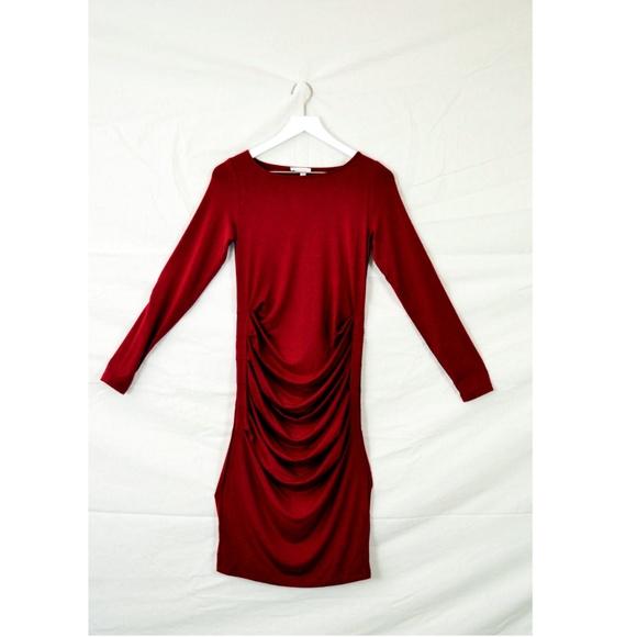 59a4f275dab Long Sleeve Pleated Maternity Dress in Crimson